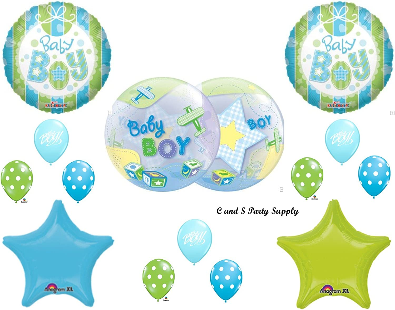 IT/'S A BOY AIRPLANE /& BLOCKS BABY SHOWER Balloons Decorations Supplies Planes