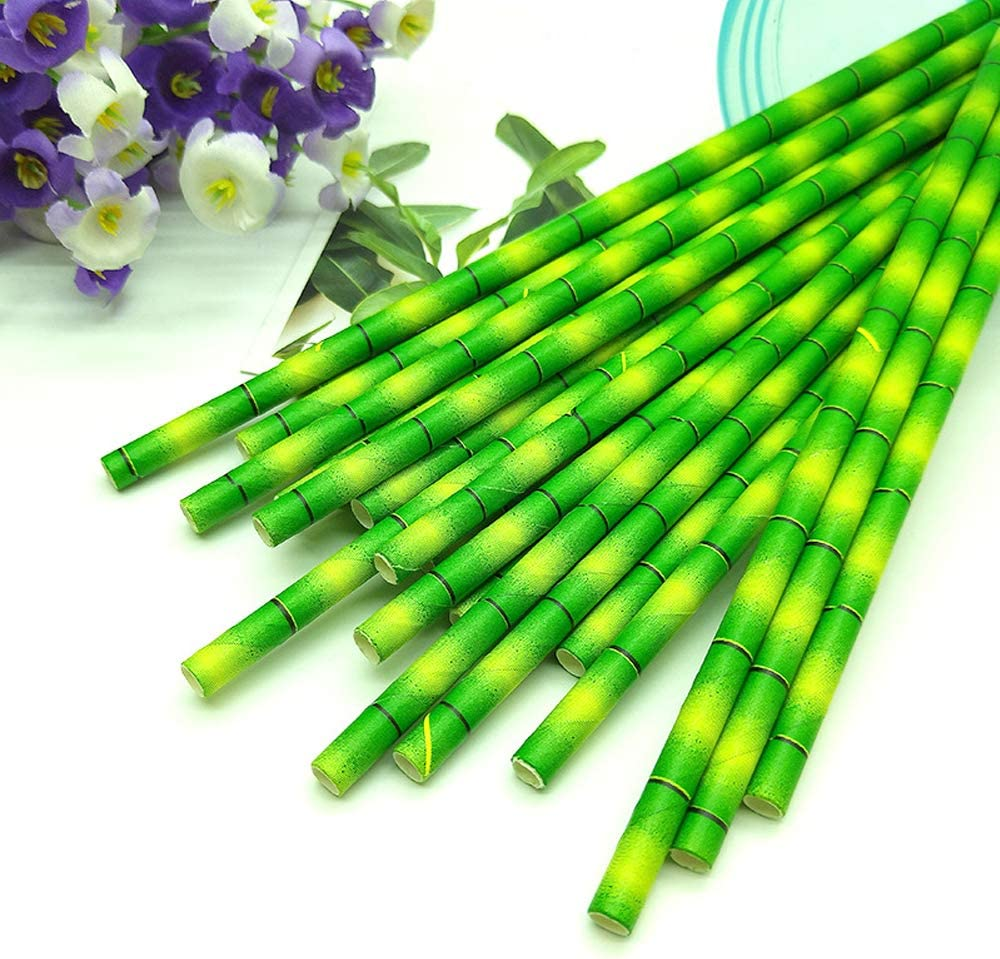 Disposable Drinking Straws Bamboo Print Paper Straws 100 PCS Food Safe BPA-Free Eco Friendly Biodegradable Straws Party Birthday Decorations Jungle Farm Theme Party Supplies 7.8inch Green
