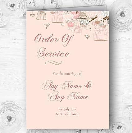 Coral Peach Vintage jaula de pájaros personalizado boda doble ...