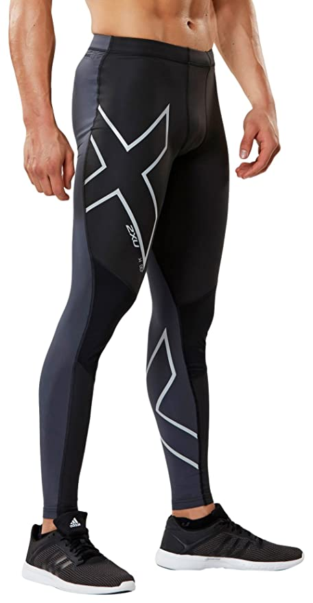 6eaf83fe93760 Amazon.com : 2XU Men's Wind Defence Compression Tights, Black/Steel,  X-Large : Clothing