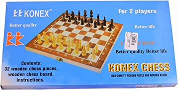 Aaina - Konex wooden chess board with white & brown wooden coins. (Medium)