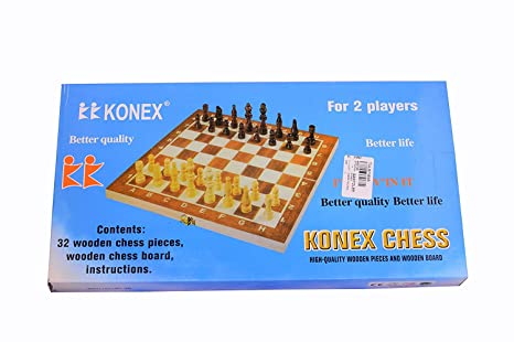 Buy Aaina Craft Konex Wooden Chess Board With White Brown Coins