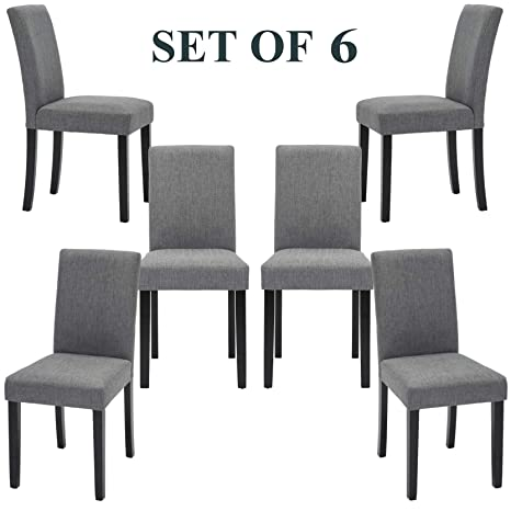 Swell Upholstered Dining Chairs With Solid Wooden Legs Modern Stylish Fabric Padded Parsons Chairs Set Of 6 Gray Andrewgaddart Wooden Chair Designs For Living Room Andrewgaddartcom