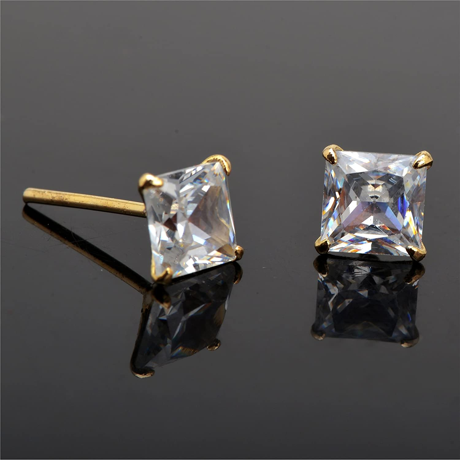 Zephyrr Fashion Gold Plated Stud Earrings White Square Zirconia American Diamond For Girls and Women