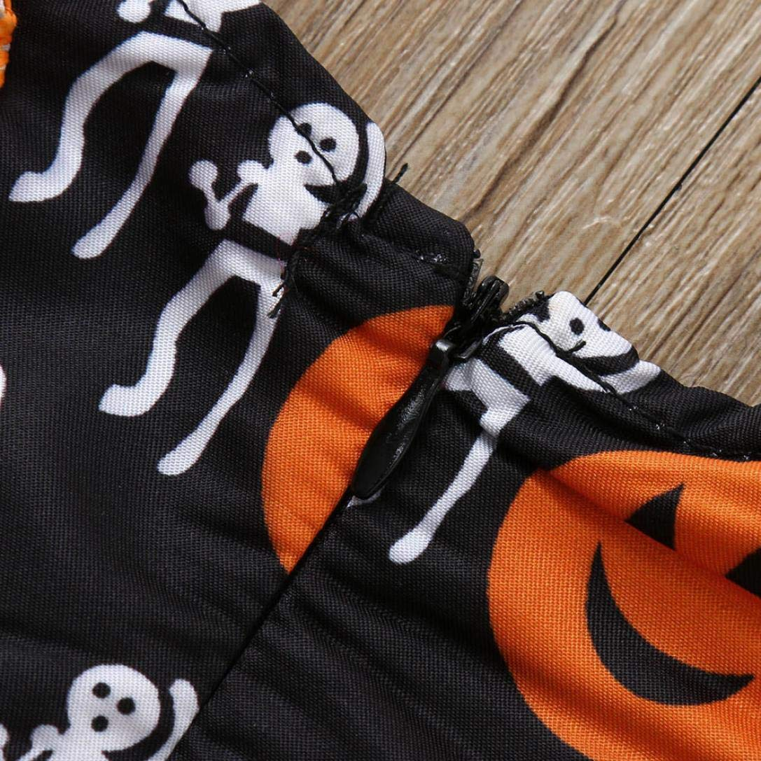 Halloween Party Girl Dress,Fineser Infant Toddler Baby Girls Pumpkin Print Ruched Dresses Halloween Costume Outfits