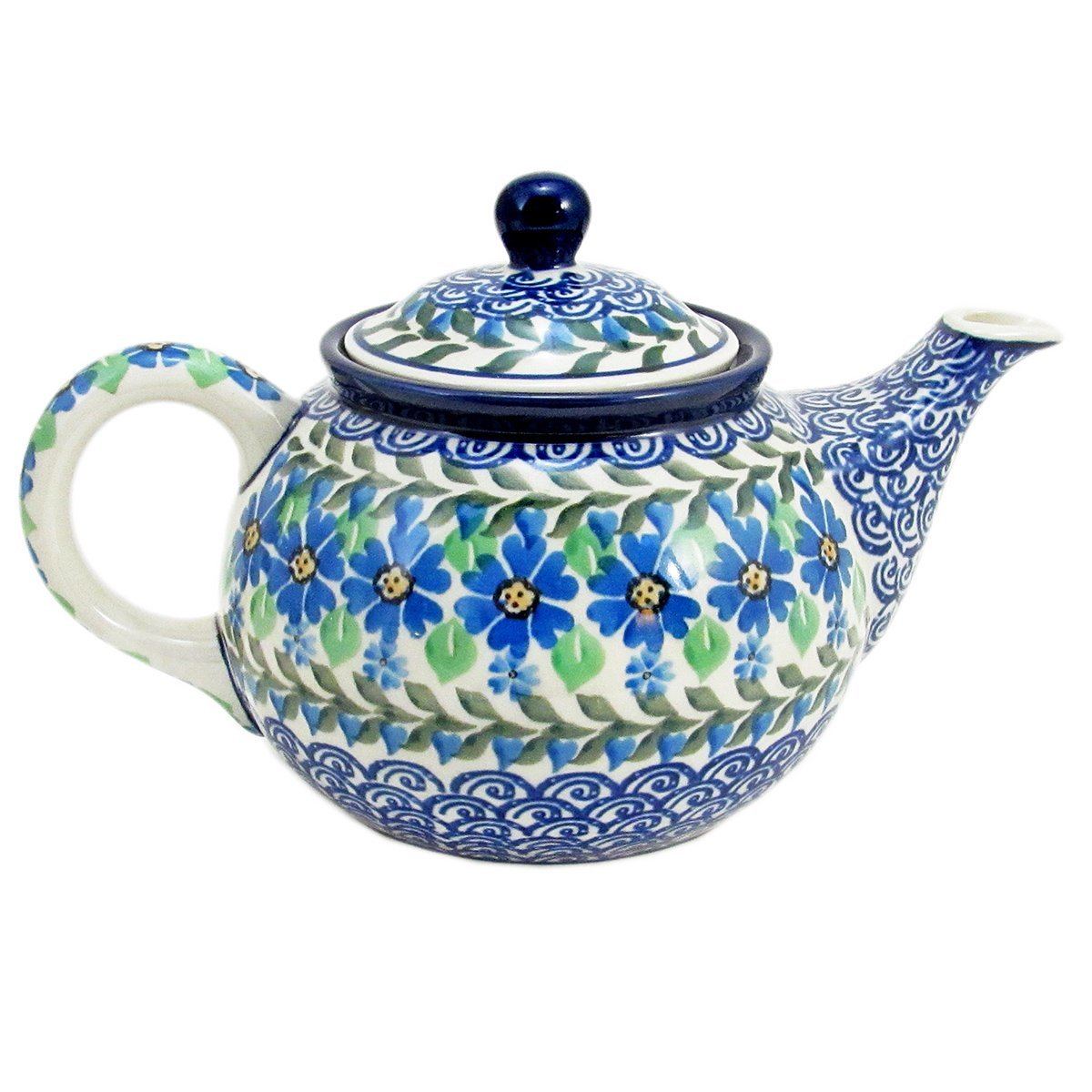 Polish Pottery Hand Crafted 24 oz (3 cup) Teapot 264-Daisy Dance