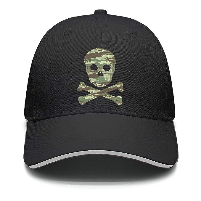 Marinas Green Army Men Skull Camouflage Army hat Unisex Snapback Hats  Adjustable Visor Cap 93443c61758