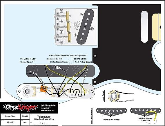 Amazon Com Toneshaper Guitar Wiring Kit For Fender Telecaster Ss3 4 Way Toneshaper Wiring Musical Instruments