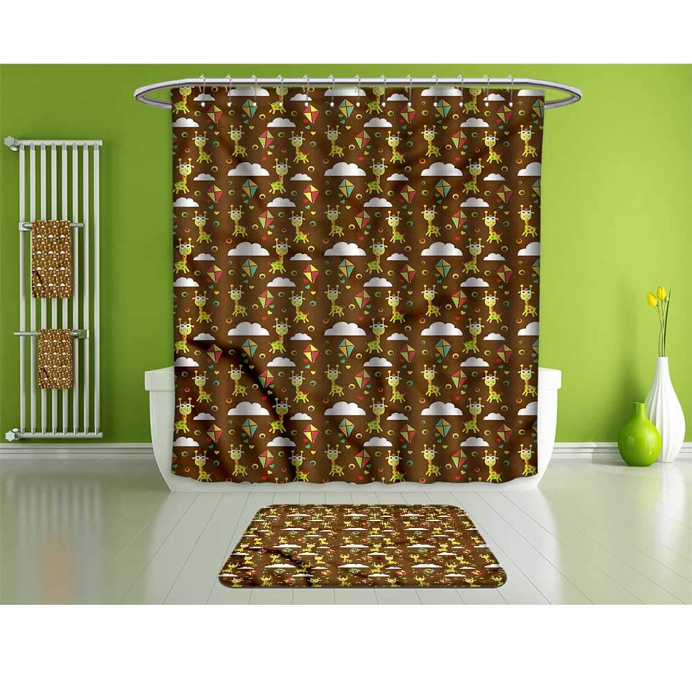 HoBeauty home Bathroom Suits &,Giraffe,Childish Fairytale Art,Fashion Personality Customization adds Color to Your Bathroom.