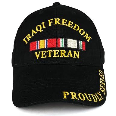 d8ff421e621 Armycrew Iraqi Freedom War Veteran Ribbon Embroidered Structured Baseball  Cap - Black