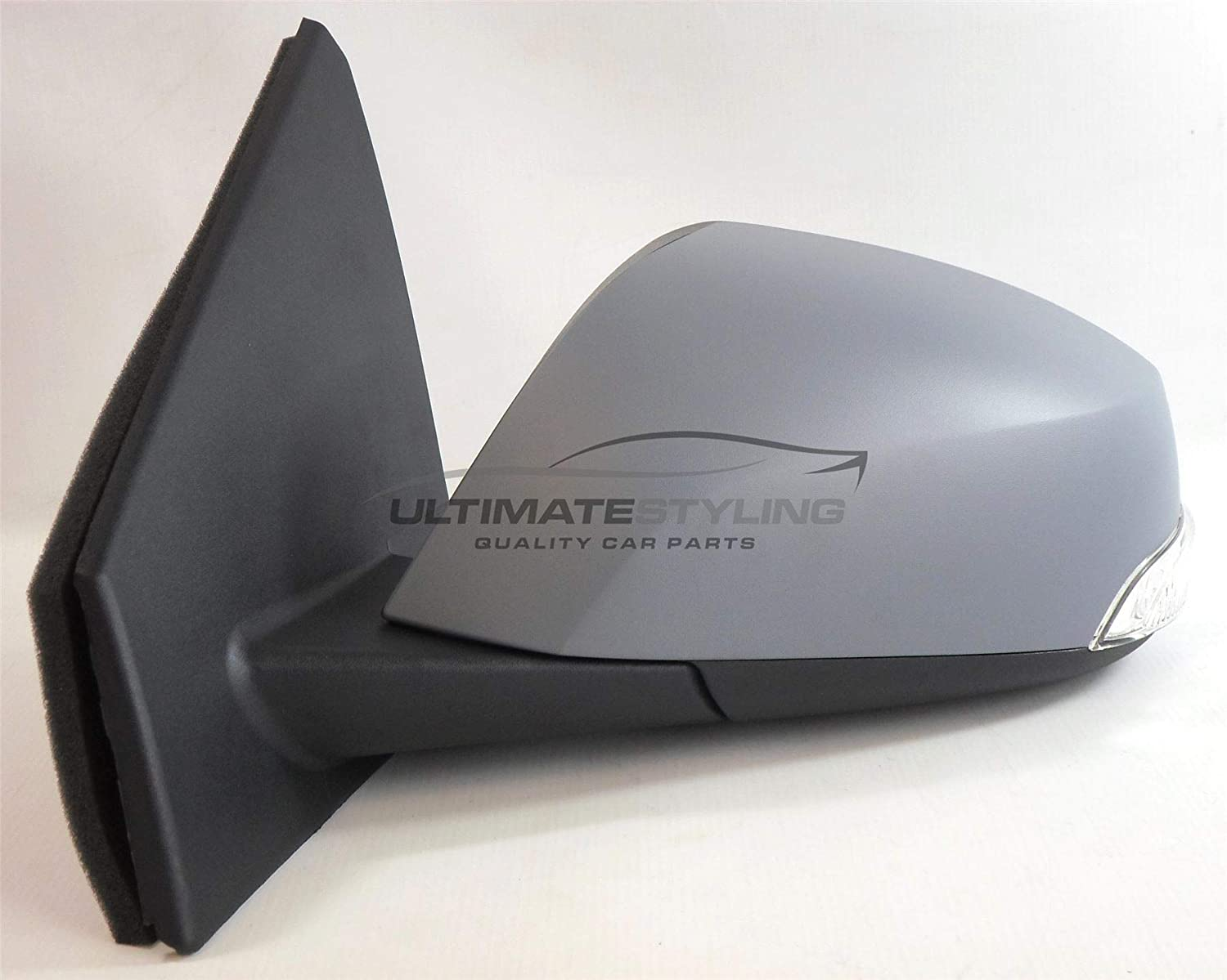 LH Ultimate Styling Replacement Electric Power Folding Wing Door Mirror With Heated Glass With Indicator With Puddle Lamp With Primed Mirror Cover Cap Side Of Product Passenger Side