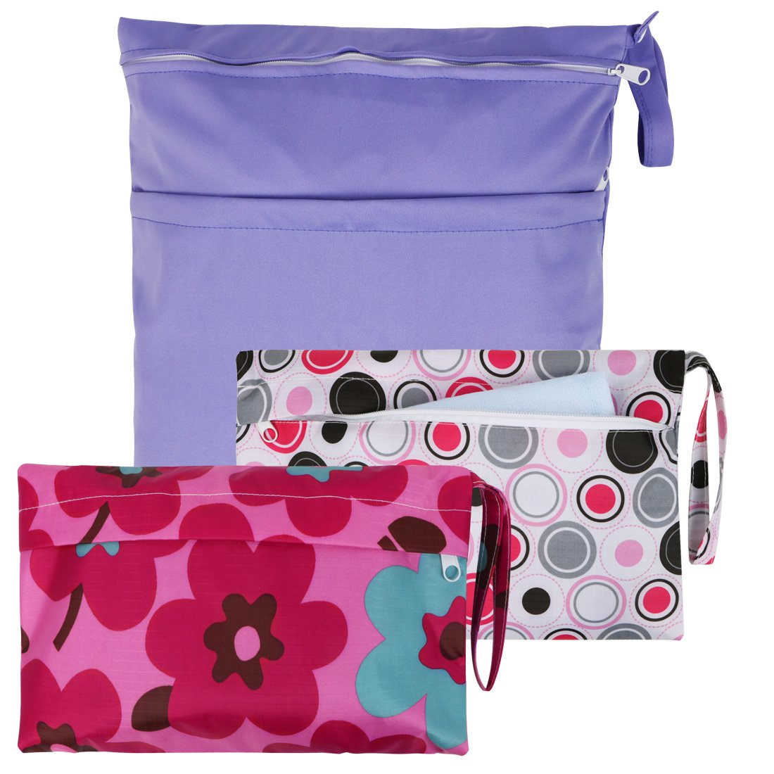 KF Baby Waterproof Cloth Diaper Travel Wet Dry Bag, Small Large Combo, Set of 3 by KF baby
