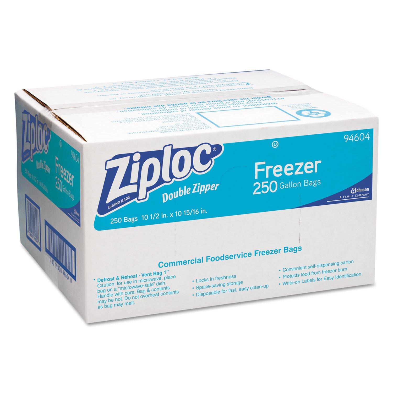 Ziploc 682258 Double-Zipper Freezer Bags, 1gal, 2.7mil, Clear w/Label Panel, 250/Carton