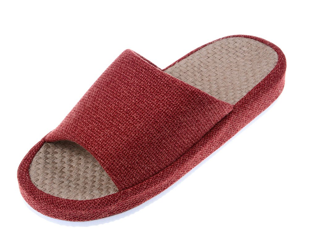 Bronze times tm unisex cozy tatami indoor cotton flax house slippers red ebay for Womens bedroom slippers arch support