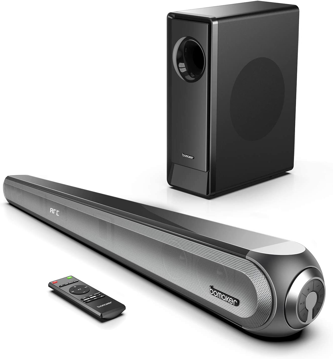 BOMAKER Sound Bars for TV with Subwoofer, w/Dolby, 240W 2.1CH 3D Surround Home Theater Audio System, Adjustable Bass 4K Ultra HD TV Speaker Soundbar, Works with HDMI ARC/Optical/Blueooth 5.0/RCA/AUX