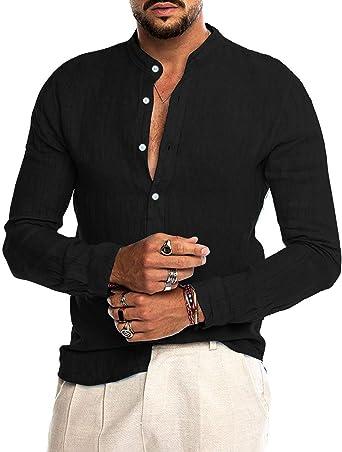 Audate - Camisa de algodón para hombre, manga larga, regular, para ocio
