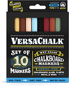 | Dust Free White Chalkboard Chalk Markers by VersaChalk Water-Based Non-Toxic Wet Erase Chalk Ink Pens Fine Markers