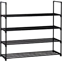 "Homebi 4-Tier Shoe Rack Shoe Tower 20-Pair Shoe Storage Organizer Stackable Unit Multifunctional Entryway Shelf with Metal Durable Shelves,35.6"" W x 12.0"" D x 33.27"" H"