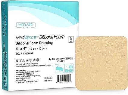 MedVancTM Silicona: apósito absorbente de espuma adhesiva de silicona, 10 cm x 10 cm, caja de 5 apósitos: Amazon.es: Salud y cuidado personal