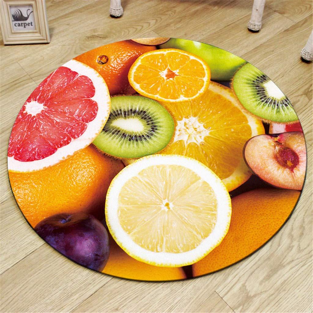 Xmansky Zitronen-Orange-Serie Teppich,Sommer Obst Serie Druck runde kristall samt k/üche Anti-Slip Matte kinderzimmer Teppich K/üchenmatte Durchmesser 60//80//100 cm