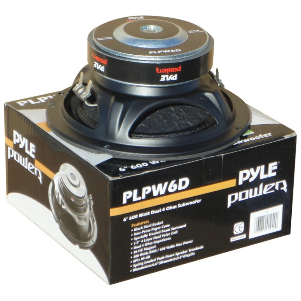 'SUB Subwoofer Pyle PLPW6D von 300 Watt RMS und 600 Watt max Durchmesser 6, 5 16, 50 cm 165 mm Tieftö ner DVC Doppelschwingspule 4 + 4 Ohm ausgezeichneten auch fü r Auto oder in Korpus Haus 212GR