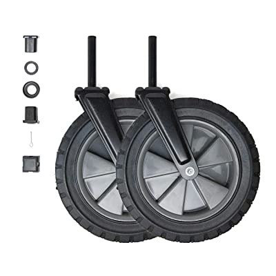 Placement Wheels for Mac Sports WTC Model Wagons (Set of 2), Replaces Front Wheels Directly Underneath Handle - Black Wheel, Gray Rim, Rubber Tire: Sports & Outdoors