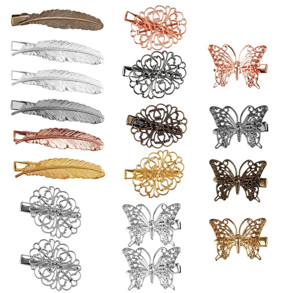 Jaciya 18 Pack Vintage Hair Clip Hairpins Hair Barrettes Butterfly Leaf Flower Shape Hair Clips Headwear for Lady Girl, 18 Pieces