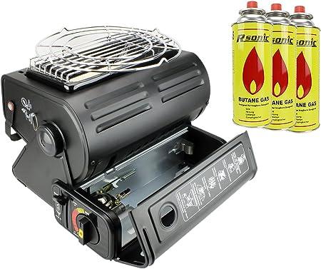 Calefactor de camping gas calefacción + Koch Interfaz placa de cocina (1,3 kW Gas Foco cerámica camping Hekers + 3 cartuchos de gas en Juego
