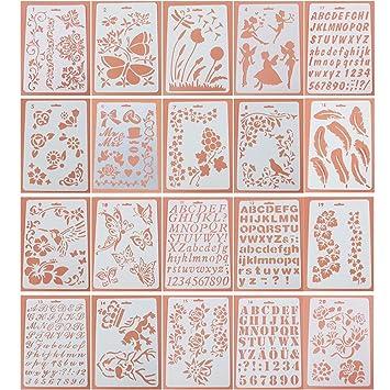 KOBWA Planificador de Bolas de Cartas, 20 Piezas, Juego de Plantillas de plástico, Plantillas de Dibujo de Números de Alfabeto para Cuaderno, Diario, ...