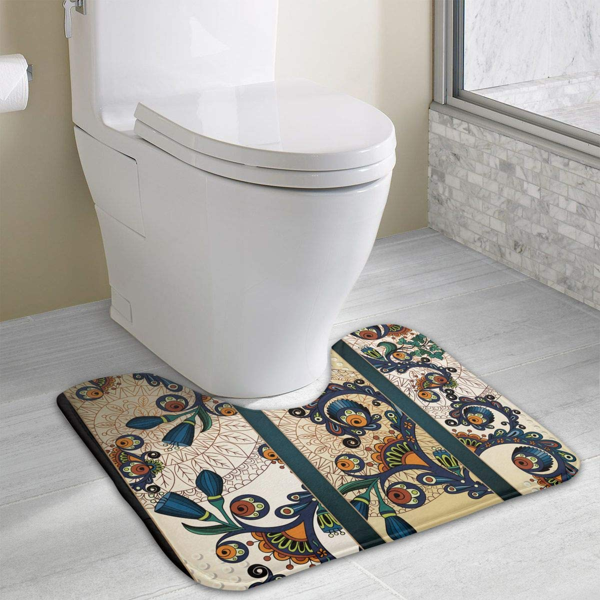 Luckytagy paisley batik floral design ethnic african hand drawn ornament bath rug u shaped toilet floor rug shower mat non slip bathroom carpet 15 8x 19 3