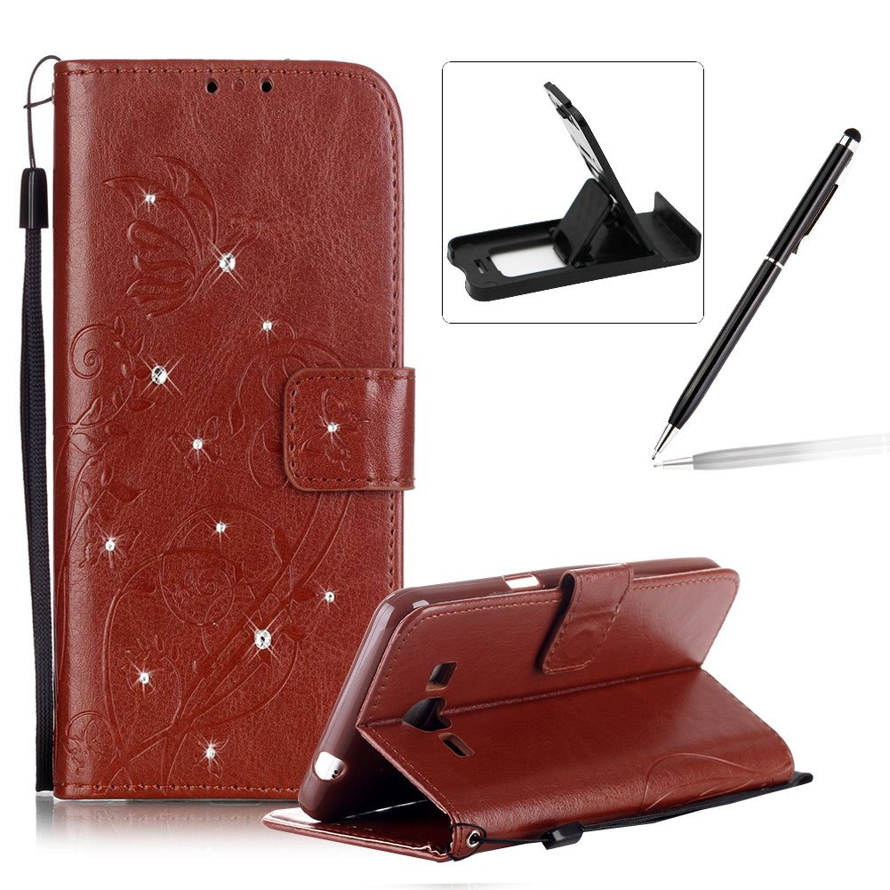 Wallet Case for Samsung Galaxy Grand Prime G530,Strap Portable Leather Case For Samsung Galaxy Grand Prime G530,Herzzer Stylish Bling Diamonds Gold Butterfly Embossed Pu Leather Purse Pouch Magnetic Closure Flip Folio Protective Case
