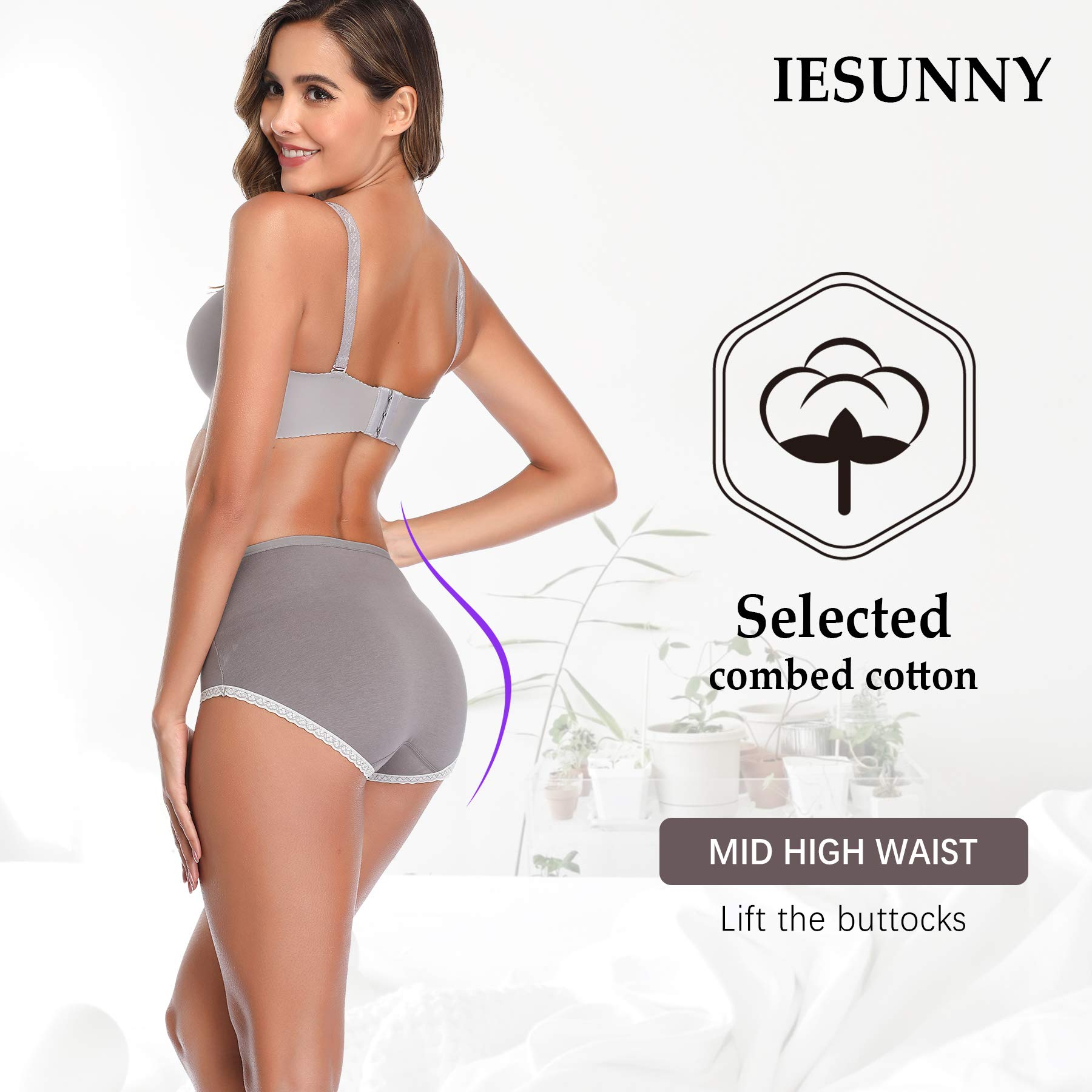 IESUNNY Women\'s Underwear Cotton, Mid Rise Breathable Cotton Lady Soft Panties Briefs for Women (1black+1beige+1green+1gray+1pink=Total 5 Pack, L)