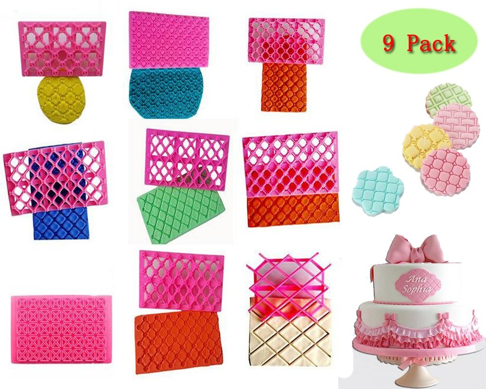 Cake Fondant Embossing Mould,9 Pack Different Patterns Fondant Embosser,Lace Flower Cookie Cutter Set,Diamond Shaped Biscuit Molds,Cake Fondant CupCake Decorating by Mity rain (Image #4)