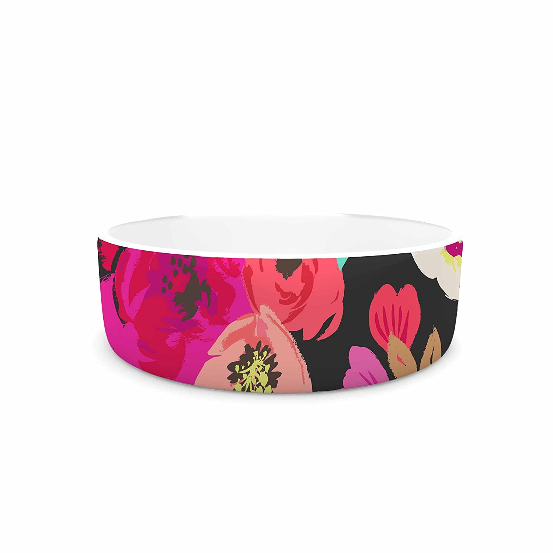 7\ KESS InHouse Crystal Walen Sweet Pea -Black Floral Pet Bowl, 7