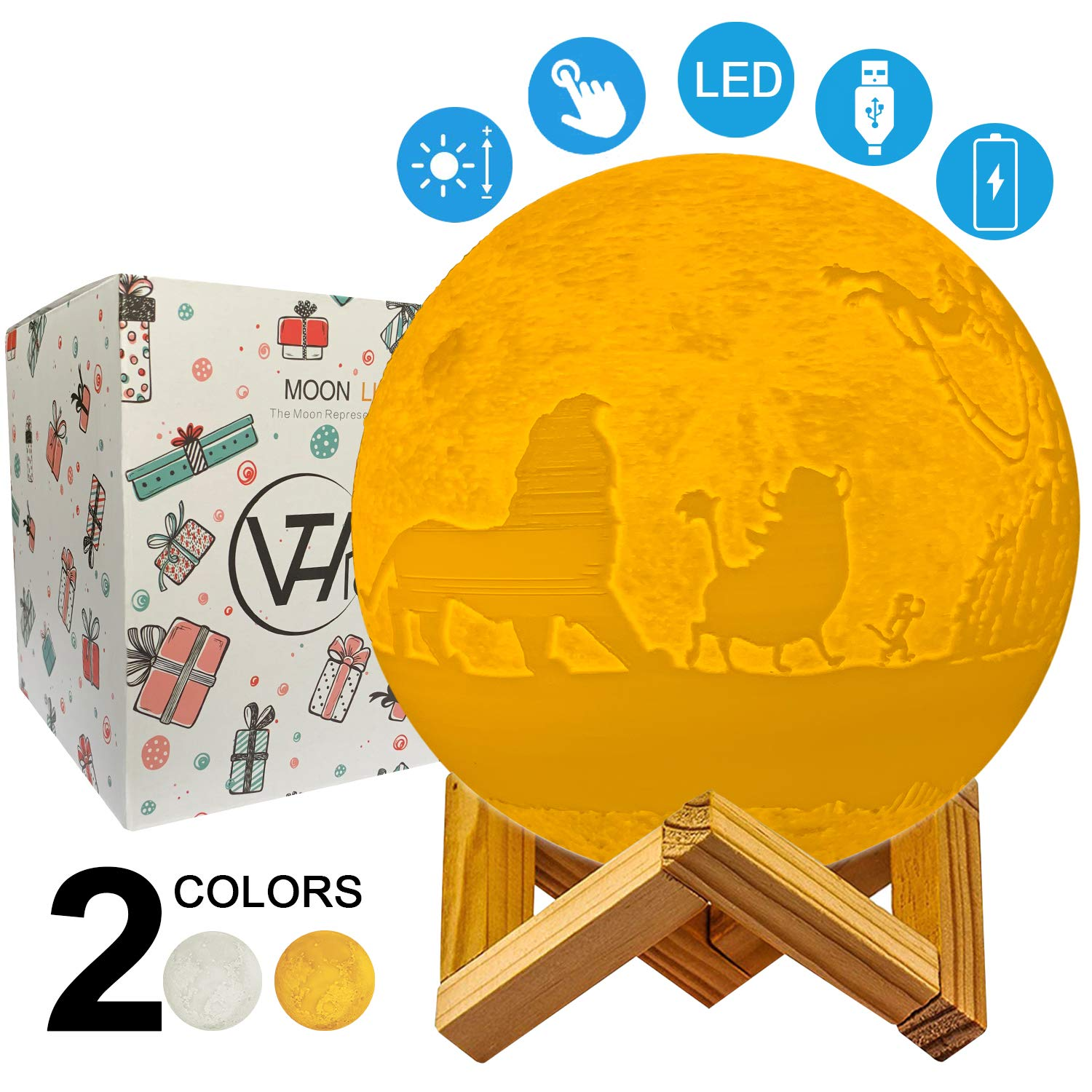 VTH Global Hakuna Matata 3D Printed LED Moon Lamp Night Lights Touch Control Moon Light King Lions Birthday Gifts for Men Women Kids Mom Dad Girls Boys Daughter Son Husband Wife Nursery Room Decor by VTH Global