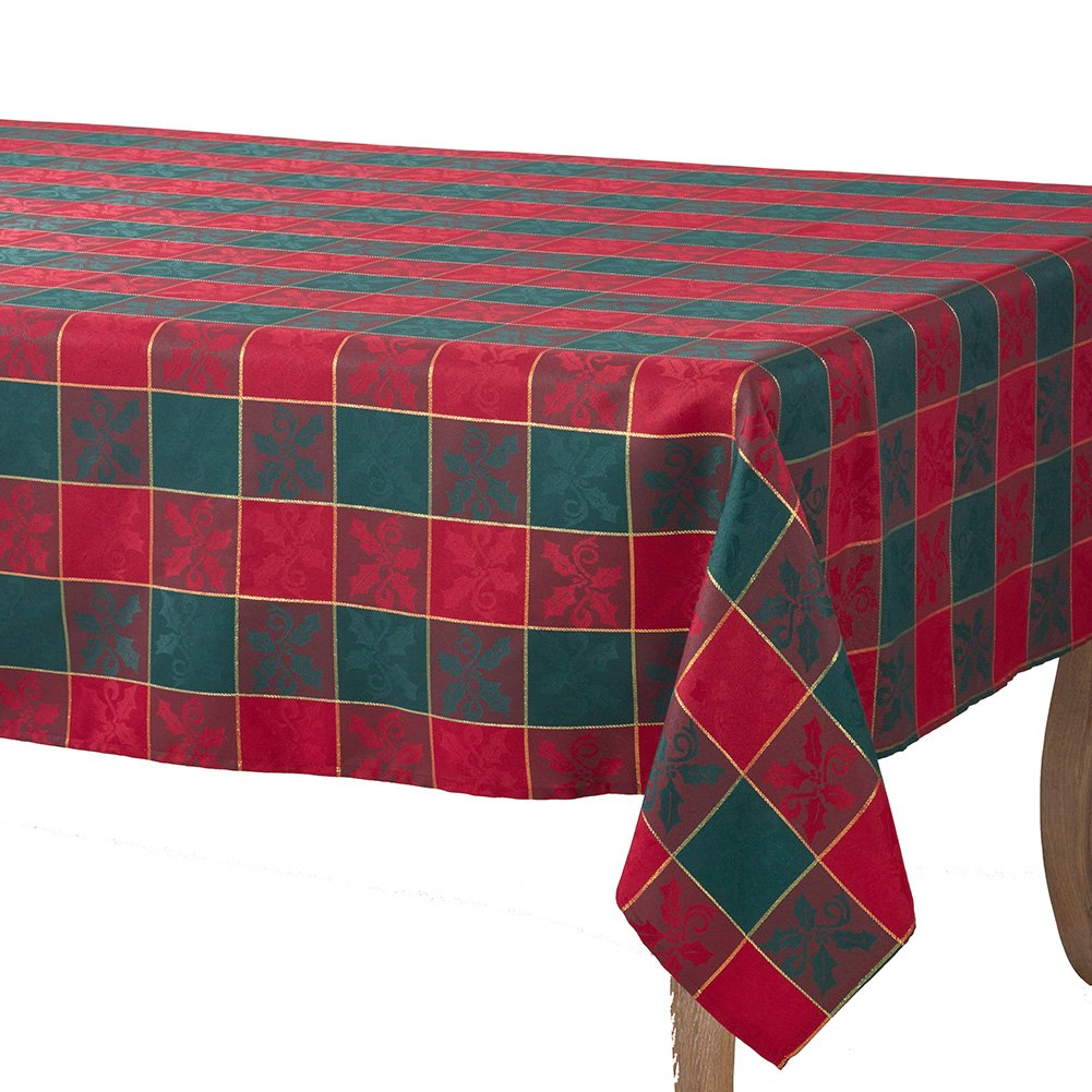 Occasion Gallery Red & Green Christmas Holiday Plaid Designed Printed Holly Cloth Napkins (Set of 4), 20 Square 20 Square TCC