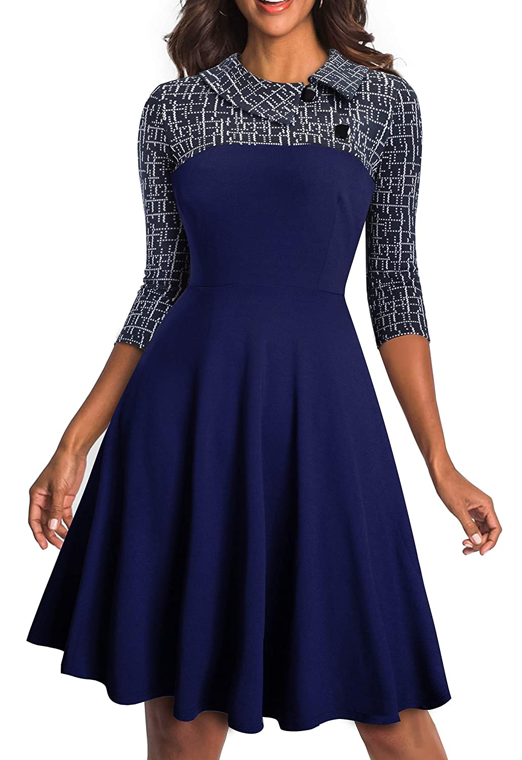 Dark bluee HOMEYEE Women's Lapel 3 4 Sleeve Church Aline colorblock Work Dress A121