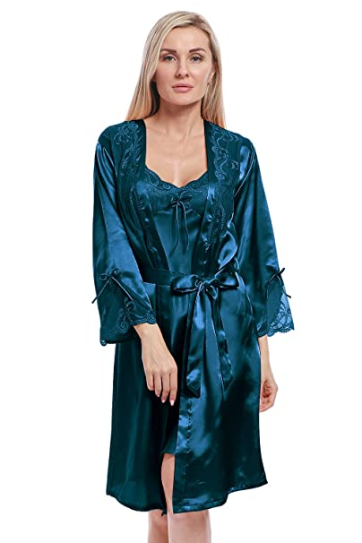 6188a28a8d463 BellisMira Women s Long Satin Robe Bridal Kimono Lace Pajamas Sleepwear Robe  ONLY Size UP Acid Blue