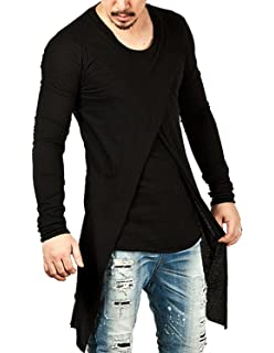 YCHENG Moda Camisetas Largo para Hombre Manga Larga Asimétrico 2in1 Hip Hop Hipster T-Shirt