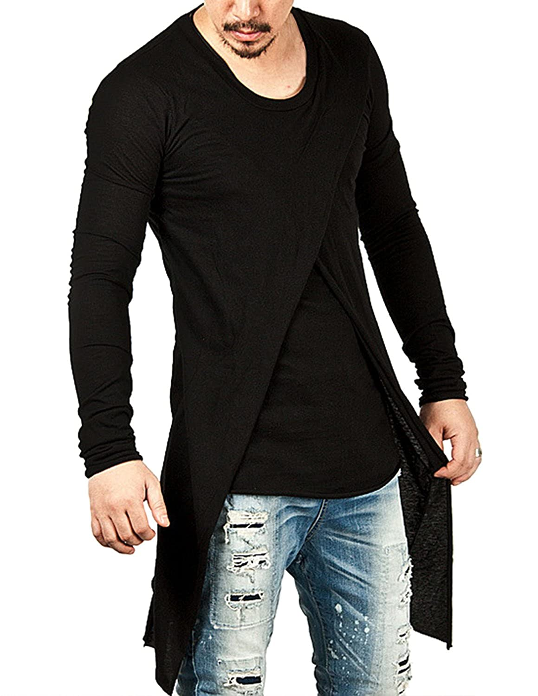 TALLA L. YCHENG Moda Camisetas Largo para Hombre Manga Larga Asimétrico 2in1 Hip Hop Hipster T-Shirt