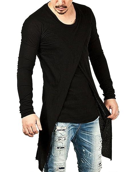 YCHENG Moda Camisetas Largo para Hombre Manga Larga Asimétrico 2in1 Hip Hop Hipster T-Shirt: Amazon.es: Ropa y accesorios