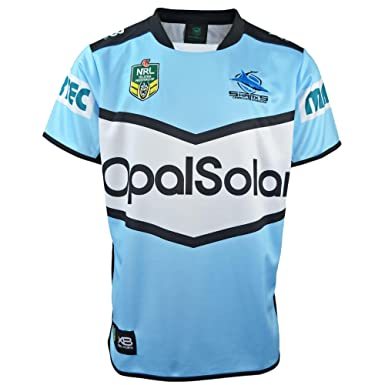 3a1dd5c7763 Cronulla Sharks NRL 2018 Home S S Replica Rugby Shirt - Sky Black - Size  XXL  Amazon.co.uk  Clothing