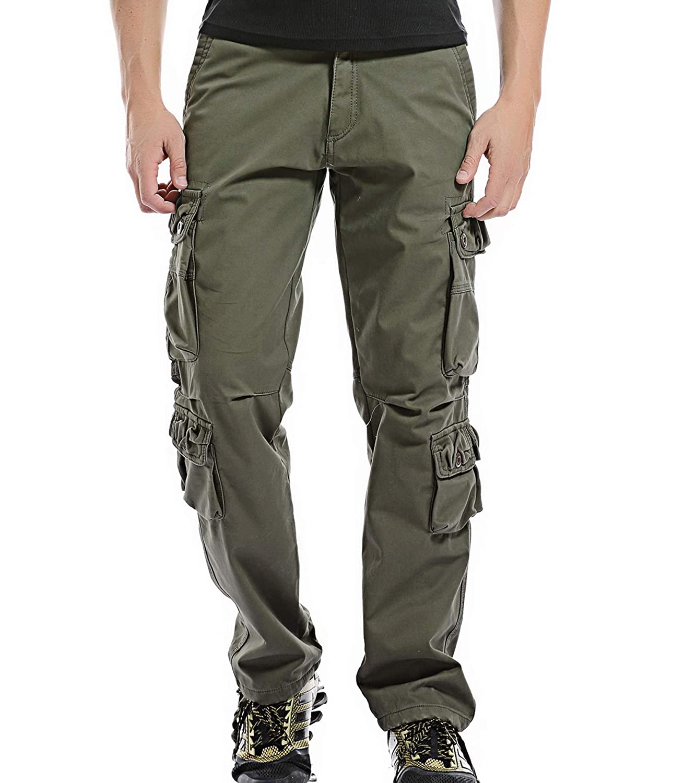 AYG Men's Polar Fleece Warm Trousers Cargo Camo Combat Pants Thickened Wiast 29-40