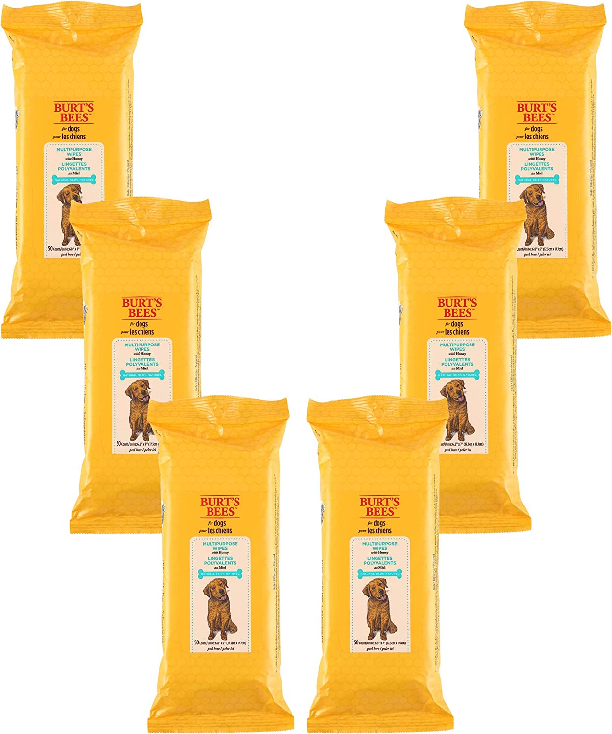 Burt's Bees for Dogs Multipurpose Grooming Wipes | Puppy & Dog Wipes for Cleaning, 50Count - 6 Pack