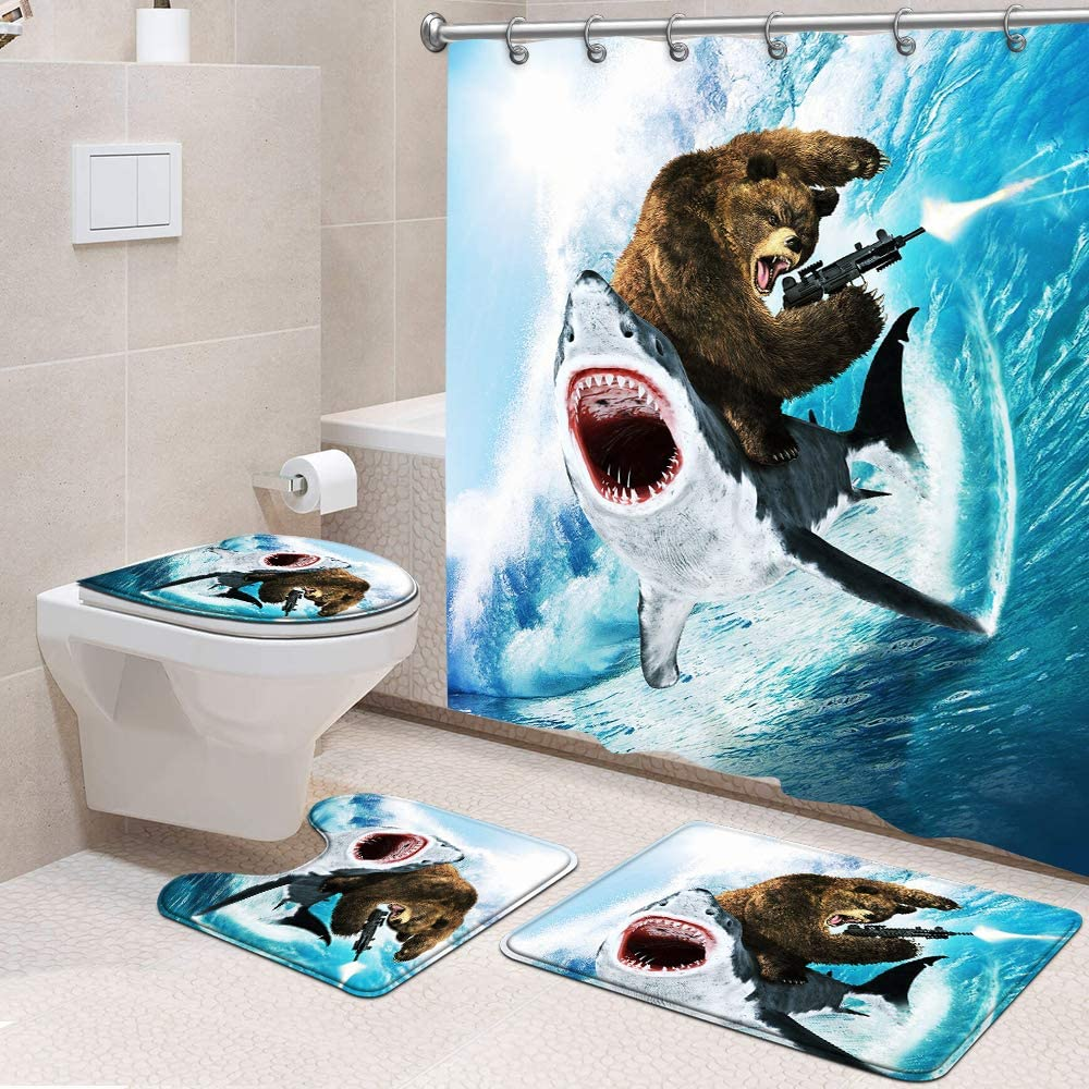 Genrics 4 Pcs Funny Shower Curtain Set Bear Riding Shark Fabric Shower Curtain with Non-Slip Rug, Toilet Lid Cover, Bath Mat and 12 Metal Hooks for Bathroom