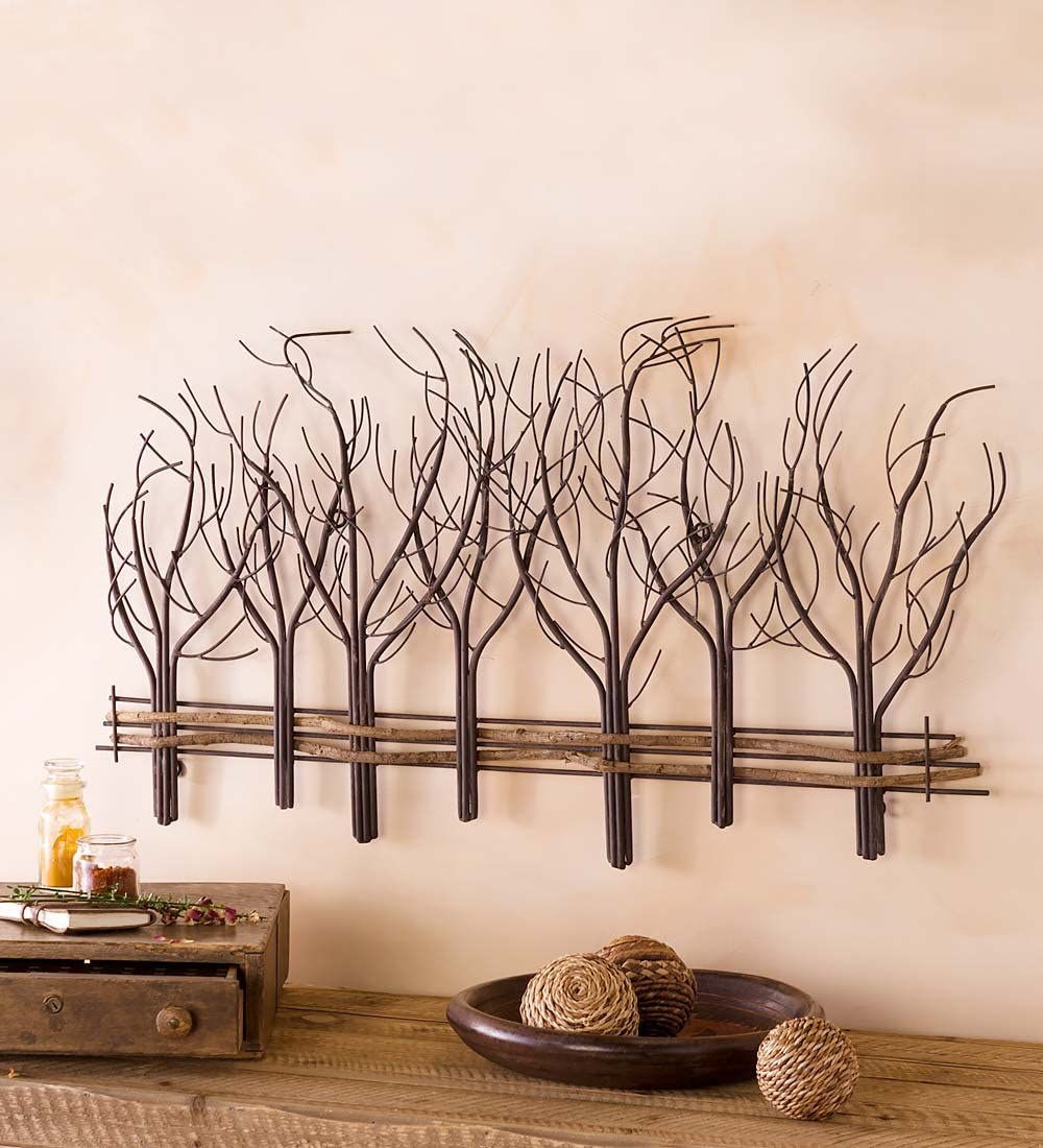 Wind Weather Metal and Natural Vine Tree Wall Art – 35 L x 22 H x 1 D