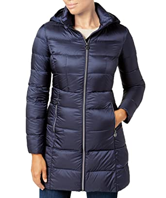 a1b29a6c0dee Amazon.com  Michael Michael Kors Packable Down Puffer Coat - Navy ...