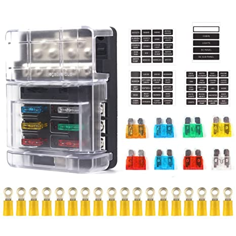amazon com xislet 6 circuits atp fuse block 12v with 12p negative rh amazon com rzr fuse box cover rzr fuse box cover