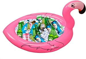 Inflatable Flamingo Cooler Salad Buffet Serving Bar Tray Ice Chest Drink Holders for BBQ Picnic Pool Flamingo Beach Hawaiian Luau Bachelorette Party Supplies Decorations