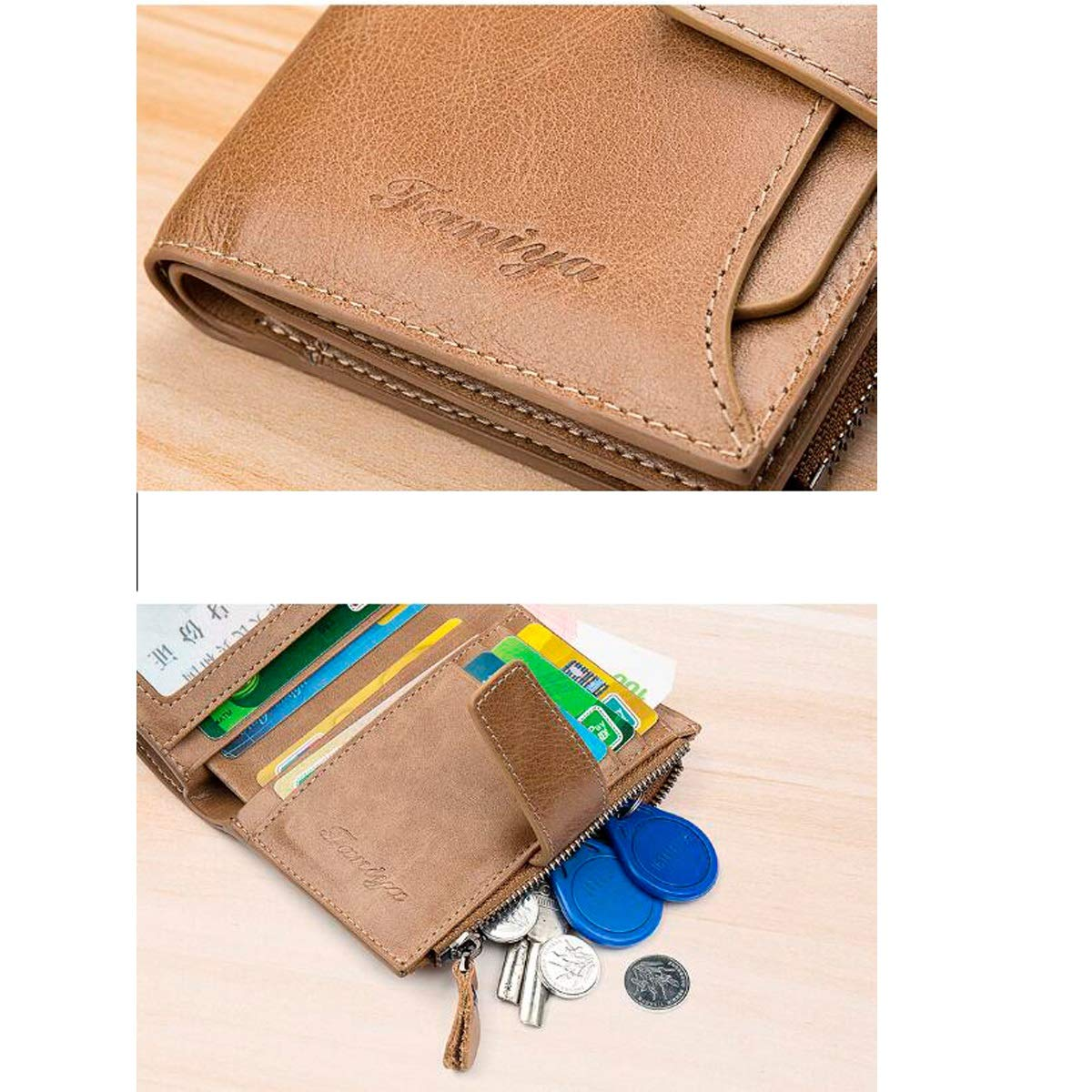 Kalmar RFID Travel Wallet 3 ID Window RFID Wallet Men Gift of Love Extra Capacity Travel Wallet Color : Brown Double Fold Flip Extra Capacity Travel Wallet